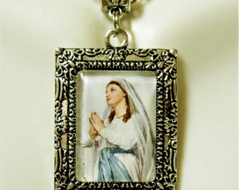 Our Lady of Lourdes picture frame pendant and chain - AP05-413