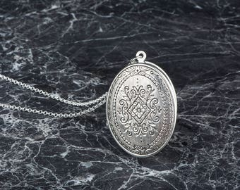 Silver Locket Necklace, Long Necklace, Long Necklace, Ornate Pendant, Large Locket Necklace, Antique Silver Locket Style, Trifari