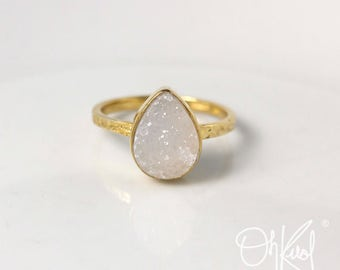 Gold Grey/White Druzy Teardrop Ring - Last One Left - Hammered Band, Marked Down