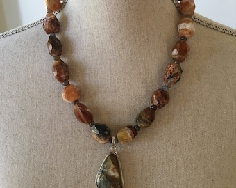 Natural Crazy Agate Necklace/Botswana Agate/Sterling Silver