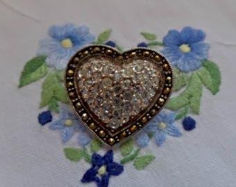 Vintage Sterling Silver Marcasite CZ Pave Set Rhinestone Heart Brooch 925