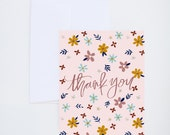Thank You Greetings - Muted Floral Print  - Painted & Hand Lettered Cards - A-2