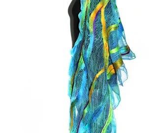 Handmade Nuno Felted Scarf Wrap Pareo Long Felted Shawl OOAK Felt Gift Multicolor Summer Fashion