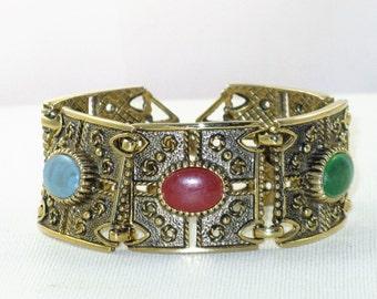 "Vintage Sarah Coventry ""Granada"" Antiqued Gold Tone Faux Gemstone Panel Bracelet (BR-2-3)"