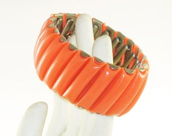 Vintage Orange Thermoset Panel Expansion Stretch Bracelet (BR-2-5)