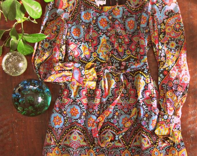 Vintage 60s Bohemian maxi dress / Hippie Boho maxi 1960s dress  / Gypsy Folk floral Caravan paisley print dress