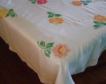 Vintage Table Cloth Hand Embroidered Cross Stitch Rectangle
