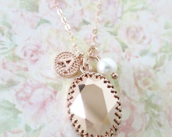 Personalised Oval Rose Gold Swarovski Crystal Letter Pearl necklace, Oval Stone pendant dainty bridesmaid necklace, rustic countryside
