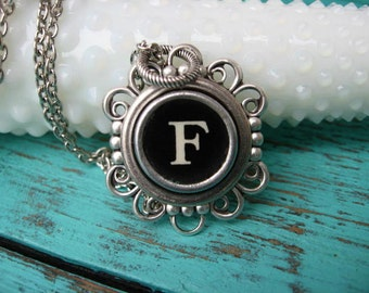 Antique Typewriter Key Necklace Initial F