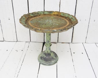 Florentine Tray Compote, Vintage Tray, Green Tray on Stand, Shabby and Chic, Cottage Style, Rustic Decor, Salvaged Decor