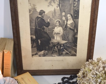 French Large Framed Holy Family Engraving-French Faded Romance, French Vintage , French Nordic