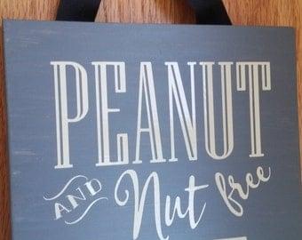 Peanut and Nut Free Home Farmhouse Style Custom Wood Sign, Peanut allergy, nuts allergy, peanut free