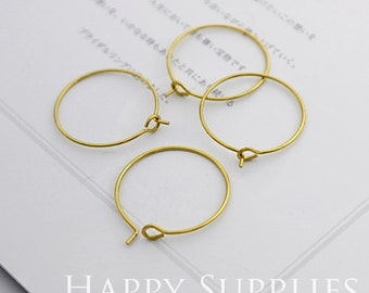 50pcs Nickel Free - Hight Quality 20mm Round Raw Brass Hoop Earrings (HE153-20mm)