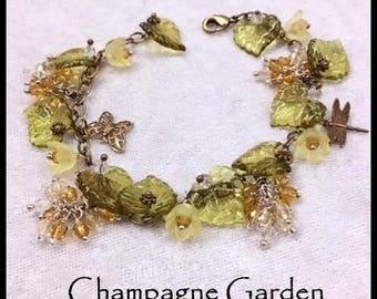 Champagne Garden Bracelet of Vintage Lucite Flowers