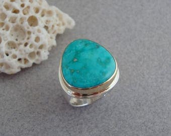 Kingman Turquoise Ring in 18k Gold and Sterling, Bright Arizona Turquoise Ring