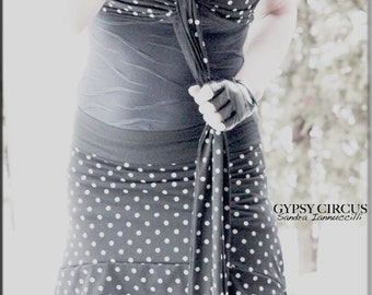 Skirt - Steampunk - Burning Man - Sexy - Bohemian - Tribal Gypsy - Polka Dots - Sexy - Burlesque - Belly Dance - Overskirt - Size Large