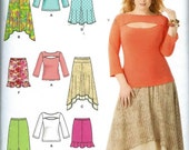 Simplicity Pattern #1812  to make Misses Plus Skirts and knit Tops. Sizes: 20-28. Uncut.