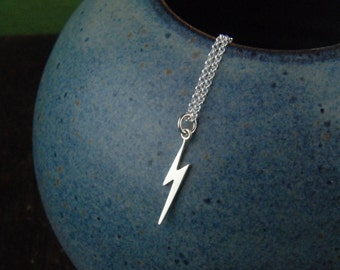 Lightning bolt necklace in sterling silver, lightning bolt charm, lightning necklace, bolt necklace, silver lightning, long necklace