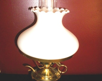 Vintage Hurricane Table Lamp with Brass Teapot Base