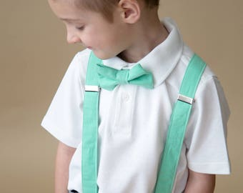 Little and Big Guy Bow tie and Suspender SET - Solid Bright Mint -(All Sizes Newborn-Adult)