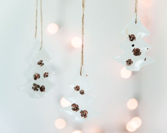 Christmas Tree Ornaments -  Miniature Christmas Trees - Rustic Christmas Decor - Christmas Ornament Set