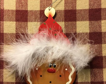 Fuzzy Hat Gingerbread Hand  Painted Wood Christmas Ornament