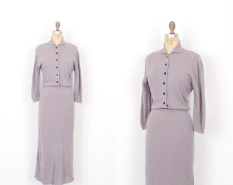 Vintage 1950s Dress / 50s Knit Sweater Dress / Grey ( S M )