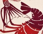 Japanese Tenugui Towel Cotton Fabric, Fish Print Design, Sea Bream, Spiny Lobster, Modern Art Design, Wall Art Hanging, Wall Decor, wf006