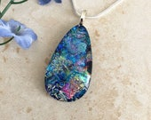 Multicolored Dichroic Fused Glass Pendant and Necklace - Teardrop Fused Jewelry - Gift Idea - 39-17