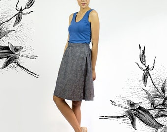 Cindy Wrap skirt - Organic Cotton & Hemp denim adjustable skirt / Eco friendly fashion
