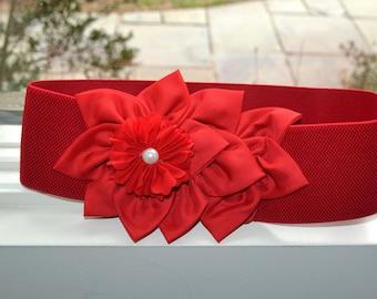 Chiffon Flower cinch belt, Wide elastic stretch corset belt,red elastic belt,  dressy belt, wedding belt, Hollywood, 3 inch wide