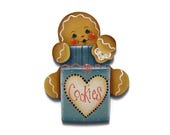 Ginger Loves Cookies Fridge Magnet or Ornament, Handpainted Wood Gingerbread Refrigerator Magnet, Hand Painted Ginger, Tole Painting