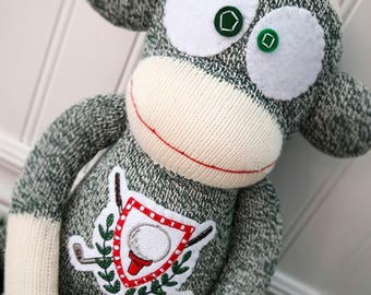 Deluxe Golf Sock Monkey - Rockford Red Heel Monkey - Choice of colour and optional Name Embroidered