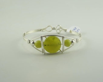 WSB-0225 Handmade Olive Jade Bangle Bracelet Wire Wrapped with Argentium Sterling Silver Wire
