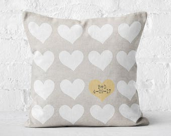 Cotton Anniversary Gift Wedding Gift Pillow Cover Personalized Hearts Wedding Pillow Cover Cotton Anniversary Gift Pillow Cover