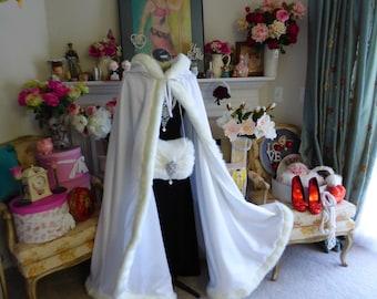 Snow White Princess Bridal cape 52- inch wedding cloak White / White Satin with fur trim Handmade in USA
