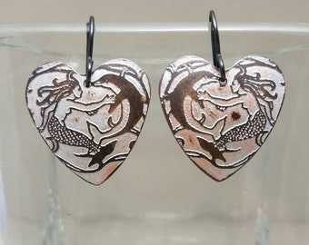 Etched Copper Heart Mermaid with Dolphin Earrings