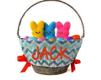 Boy easter basket etsy personalized easter basket liner denim chevron basket not included personalized with name negle Images