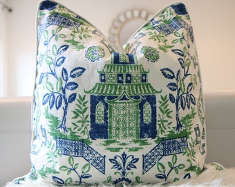 """24x24"""" Pillow Cover Blue/Green Tea House Pagoda by Duralee Fabric"""