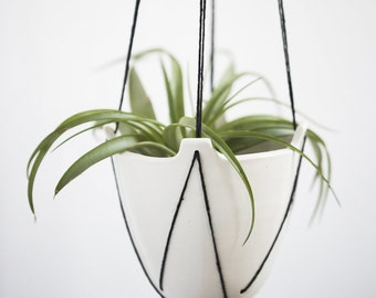 Hanging Porcelain Planters - Stitched Triangles