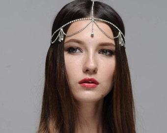 Sofie Boho Bohemian Goddess Vintage Jeweled Gatsby wedding Headband Head Piece Forehead Headdress