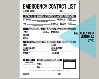 emergency contact form version 2.0