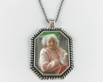 In Memory Of - Your Loved One's Photo on a Pendant - Memorial Necklace, Memorial Key Chain - 2 Finishes Available