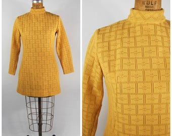 Late 1960s Gold Mustard Knit Dress // Mini Dress Shift Long Sleeved High Neck // Early 1970s