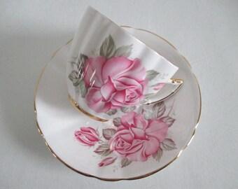 Royal London Tea Cup & Saucer Large Pink Rose Fancy Shape Gold Gilt