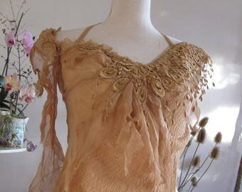 RESERVED Mushroom dyed silk top, fractal wings festival elven clothing