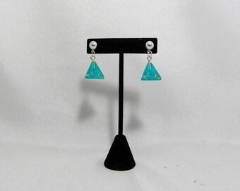 Teal d4 dice earrings
