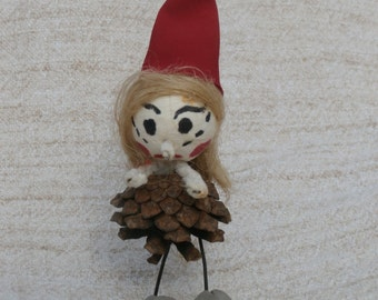Scarier Than Normal Pine Cone Christmas Elf, Tomten, Girl Elf, or Mrs. Claus, Vintage Christmas Decoration