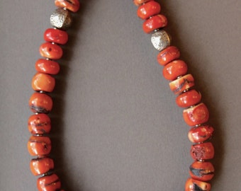 Vintage Coral Necklace Chunky Rustic Old Coral Beads w Rustic Gemstone Jewelry