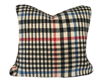 Vintage Black, White, Blue, Red Plaid 18x18 Wool Pillow